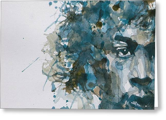 Jimi Hendrix Paintings Greeting Cards - Hendrix Watercolor Abstract Greeting Card by Paul Lovering