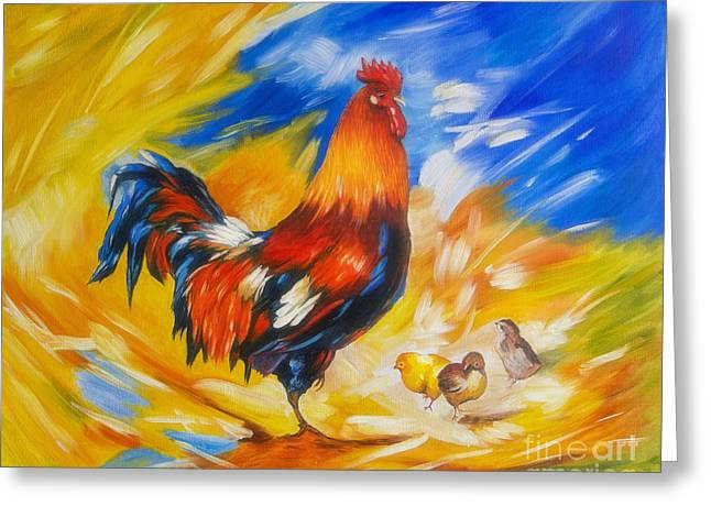 Harmonious Paintings Greeting Cards - Henhouse host Greeting Card by Veikko Suikkanen