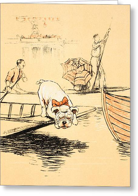 British Bulldog Greeting Cards - Henley Regatta Greeting Card by Cecil Charles Windsor Aldin