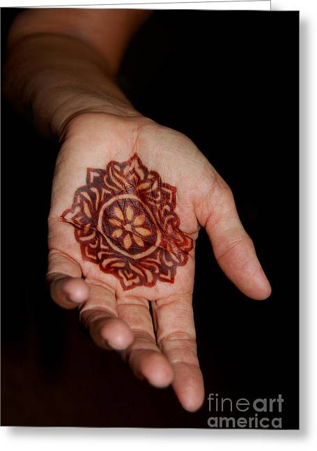 Henna Greeting Cards - Henna Design Greeting Card by Andrea Aycock