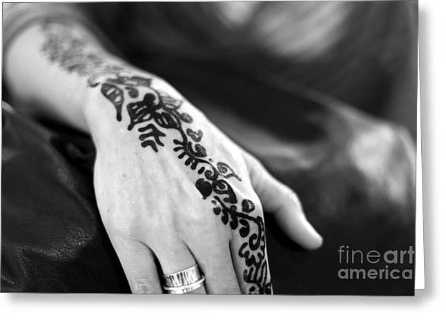 Henna Greeting Cards - Henna Tattoo Greeting Card by Sophie Vigneault