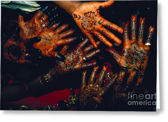 Henna Tattoos For Wedding Ceremony Greeting Card by Kazuyoshi Nomachi