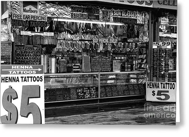 Seaside Heights Greeting Cards - Henna Tattoos mono Greeting Card by John Rizzuto