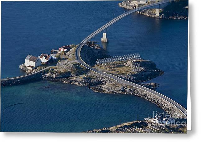Norway Village Greeting Cards - Henningsvaer Bridge Greeting Card by Heiko Koehrer-Wagner