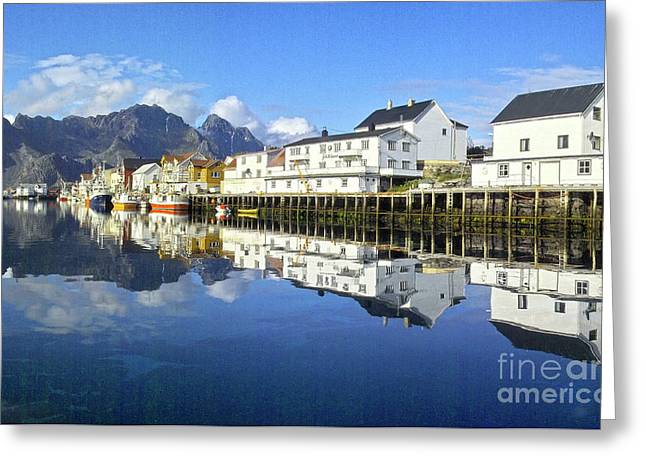 Heiko Koehrer-wagner Greeting Cards - Henningsvaer harbour Greeting Card by Heiko Koehrer-Wagner