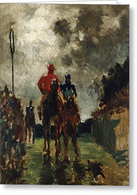 Stormy Clouds Greeting Cards - Henri de Toulouse Lautrec Greeting Card by The Jockeys