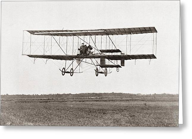 Pounds Greeting Cards - Henri Farman Winning The Grand Prix Of Two Thousand Pounds For The Longest Flight Of 112 Miles Greeting Card by Bridgeman Images