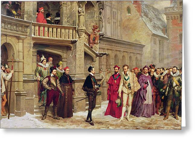Scar Greeting Cards - Henri Iii And The Duc De Guise, 1855 Oil On Canvas Greeting Card by Pierre Charles Comte