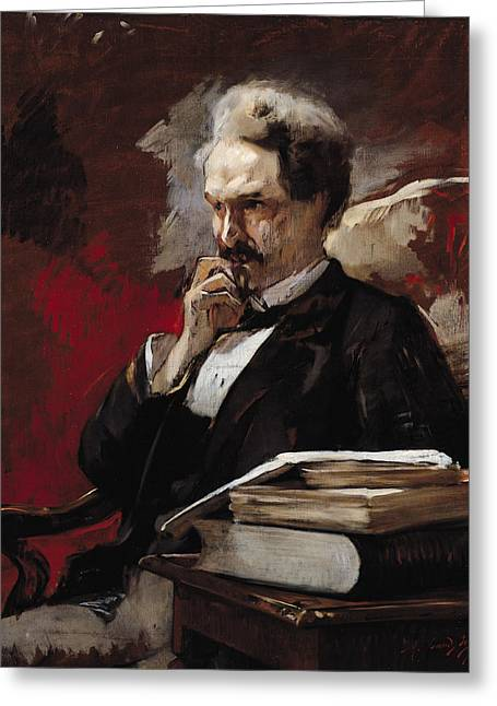 Journalist Greeting Cards - Henri Rochefort 1830-1913 Oil On Canvas Greeting Card by Auguste Baud-Bovy