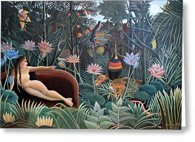 Hospital Theme Greeting Cards - Henri Rousseau The Dream 1910 Greeting Card by Movie Poster Prints