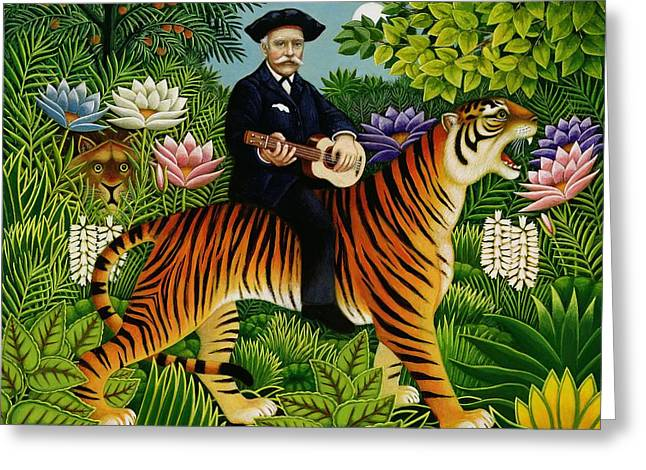 Tiger Dream Greeting Cards - Henri Rousseaus Dream, 1997 Oil & Tempera On Panel Greeting Card by Frances Broomfield