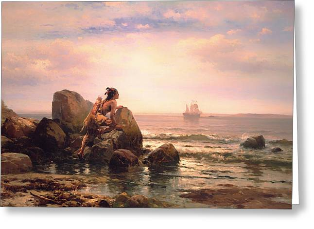 York Beach Paintings Greeting Cards - Henrik Hudson Entering New York Harbor 1609 Greeting Card by Edward Moran