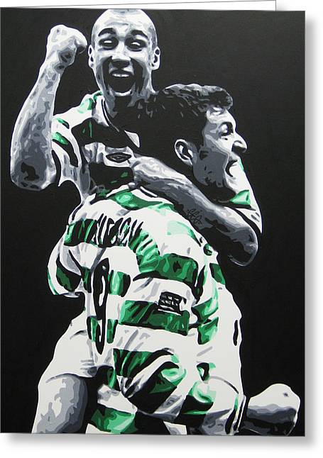 Sutton Paintings Greeting Cards - HENRIK LARSSON and CHRIS SUTTON - GLASGOW CELTIC FC Greeting Card by Geo Thomson