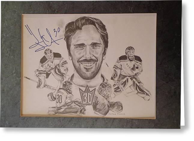 New York Rangers Drawings Greeting Cards - Henrik Lundqvist Greeting Card by Chelsea Simunek