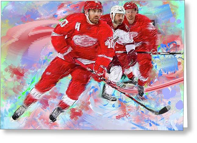 Hockey Paintings Greeting Cards - Henrik Zetterberg 2 Greeting Card by Donald Pavlica