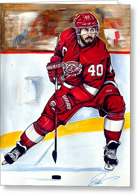 Hockey Winter Classic Drawings Greeting Cards - Henrik Zetterberg of the Detroit Red Wings Greeting Card by Dave Olsen