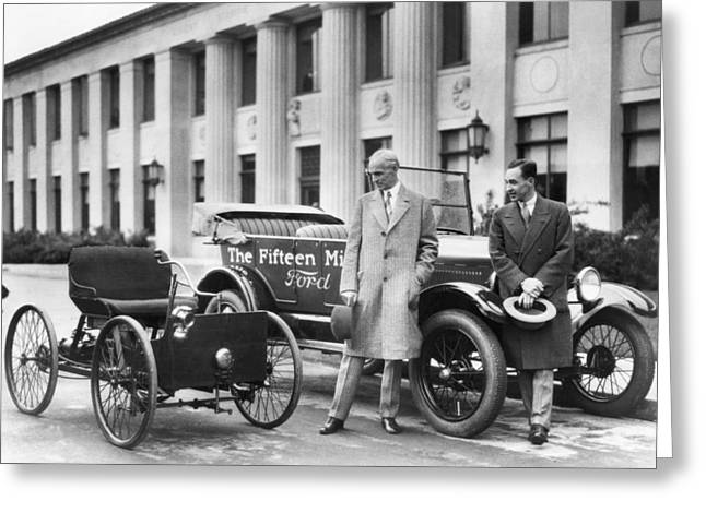 Henry And Edsel Ford Greeting Card by Underwood Archives