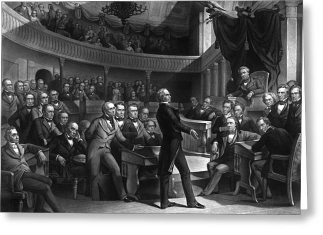 Us Senate Greeting Cards - Henry Clay Speaking In The Senate Greeting Card by War Is Hell Store