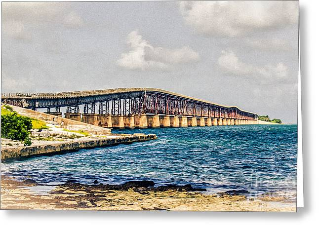 Isla Morada Greeting Cards - Henry Flaglers Railroad Bridge Key West Florida Greeting Card by Rene Triay Photography