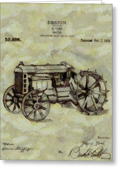 Recently Sold -  - Old Barns Greeting Cards - Henry Ford Tractor Patent Greeting Card by Dan Sproul