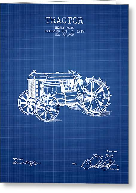 Henry Digital Greeting Cards - Henry Ford Tractor Patent  From 1919 - Blueprint Greeting Card by Aged Pixel