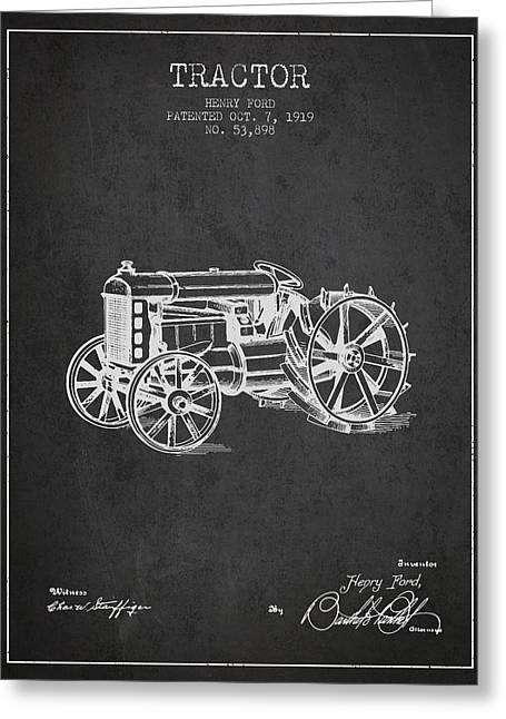 Henry Greeting Cards - Henry Ford Tractor Patent  From 1919 - Dark Greeting Card by Aged Pixel