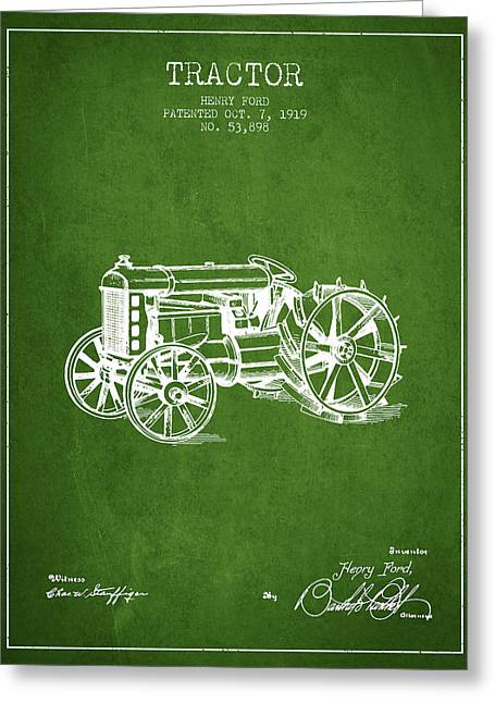 Henry Greeting Cards - Henry Ford Tractor Patent  From 1919 - Green Greeting Card by Aged Pixel