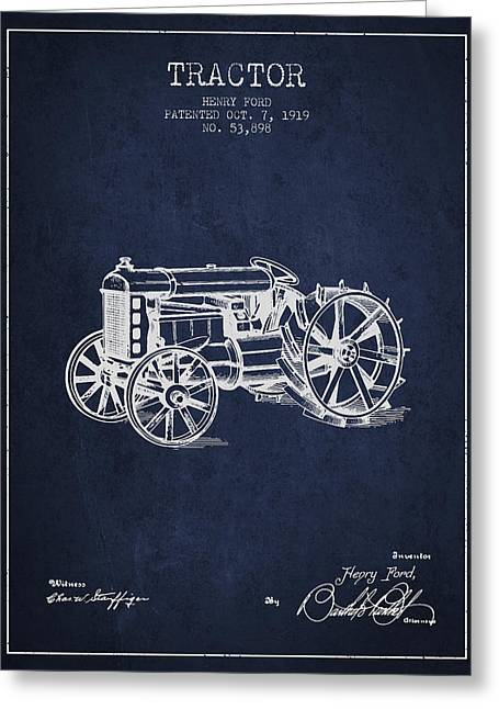 Henry Greeting Cards - Henry Ford Tractor Patent  From 1919 - Navy Blue Greeting Card by Aged Pixel