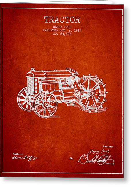 Henry Greeting Cards - Henry Ford Tractor Patent  From 1919 - Red Greeting Card by Aged Pixel