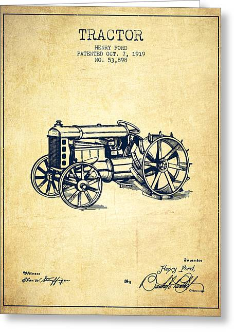 Henry Digital Greeting Cards - Henry Ford Tractor Patent  From 1919 - Vintage Greeting Card by Aged Pixel