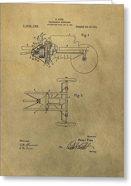 Transmission Mixed Media Greeting Cards - Henry Ford Transmission Patent Greeting Card by Dan Sproul