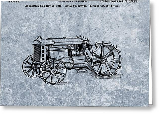 Henry Mixed Media Greeting Cards - Henry Fords Tractor Patent Cool Blue Greeting Card by Dan Sproul