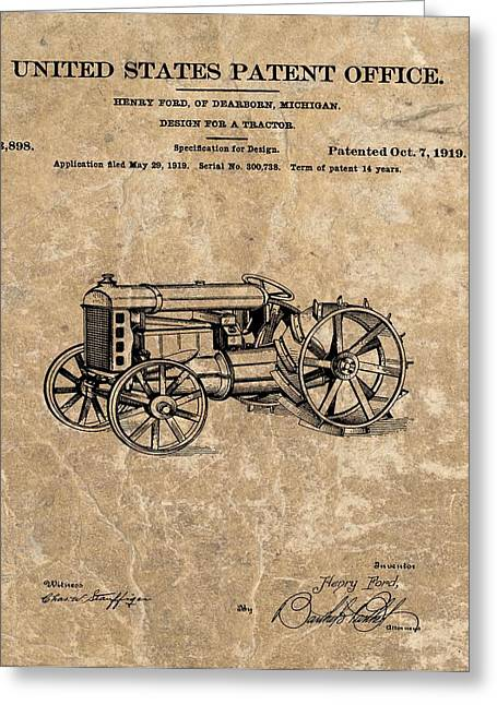 Henry Mixed Media Greeting Cards - Henry Fords Tractor Patent Greeting Card by Dan Sproul