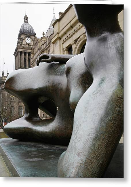 City And Colour Greeting Cards - Henry Moore Sculpture At Town Hall Greeting Card by Vicki Couchman