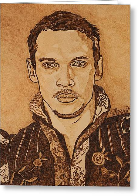 Henry Pyrography Greeting Cards - Henry Greeting Card by Tracy Partridge-Johnson