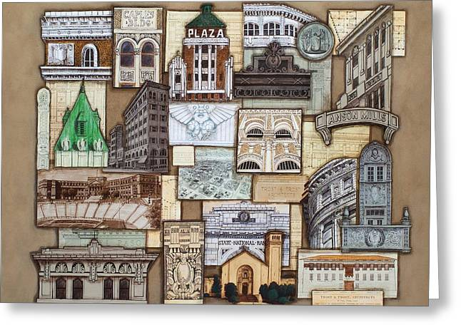 Facades Mixed Media Greeting Cards - Henry Trost in El Paso Greeting Card by Candy Mayer