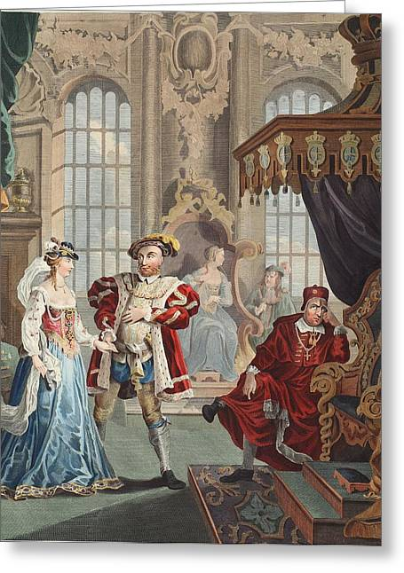 Disapprove Greeting Cards - Henry Viii And Anne Boleyn Greeting Card by William Hogarth