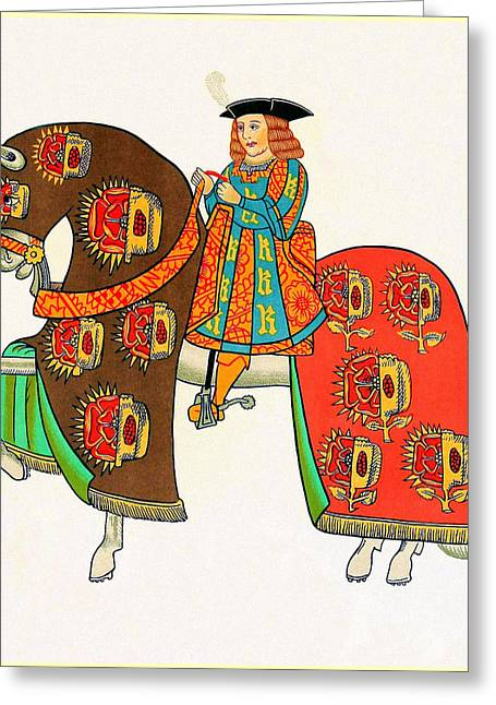 Servant Mixed Media Greeting Cards - Henry VIII - Tournament Servant - Facing Left Greeting Card by Charles Ross