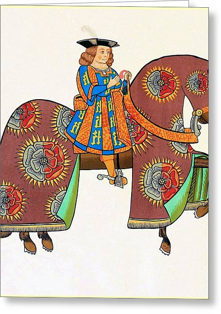 Servant Mixed Media Greeting Cards - Henry VIII - Tournament Servant - Facing Right Greeting Card by Charles Ross