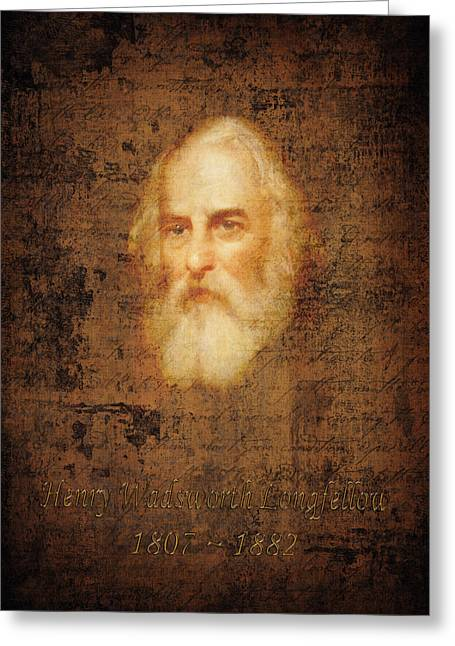Poet Photographs Greeting Cards - Henry Wadsworth Longfellow Greeting Card by Andrew Fare