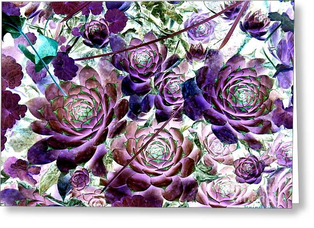Hen And Chicks Greeting Cards - Hens and Chicks - Botanical - Indigo Blue and Purple Greeting Card by Janine Riley