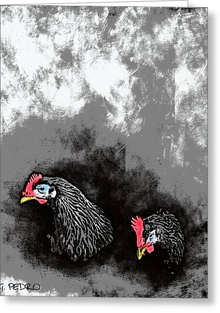 Layers Pastels Greeting Cards - Hens at Rest Greeting Card by George Pedro