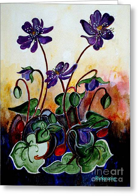 Veronica Rickard Greeting Cards - Hepatica after a design by Anne Wilkinson Greeting Card by Veronica Rickard