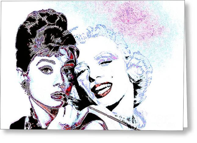 Hepburn And Monroe 20130331 Greeting Card by Wingsdomain Art and Photography