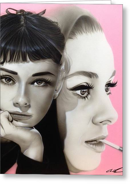 Woman Framed Prints Greeting Cards - Hepburn Greeting Card by Christian Chapman Art