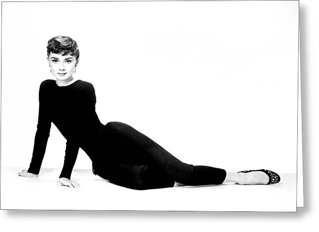 1950s Portraits Greeting Cards - Hepburn in Leggings Greeting Card by Nomad Art And  Design