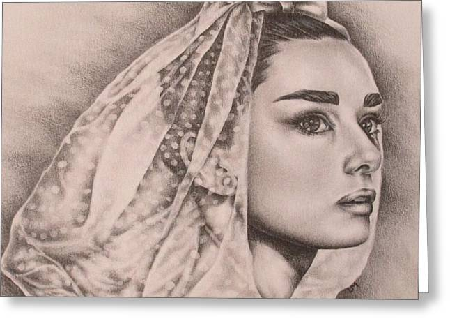 Pencil On Canvas Greeting Cards - Hepburn the Bride Greeting Card by Lisa Marie Szkolnik