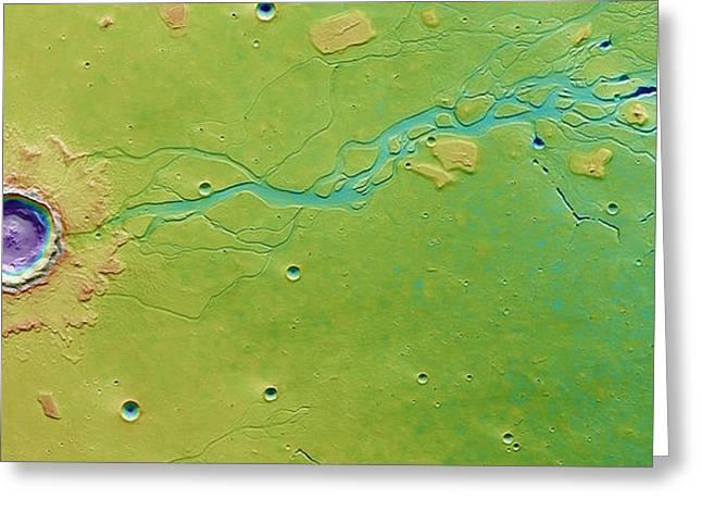 Hephaestus Fossae, Mars Greeting Card by Science Source