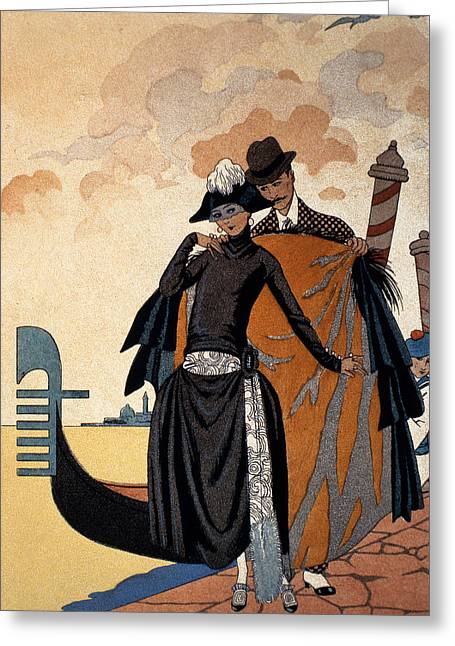Twenties Greeting Cards - Her and Him Fashion Illustration Greeting Card by Georges Barbier