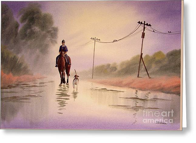 Equine Artist Equine Art Prints Greeting Cards - Her Best Friends Greeting Card by Bill Holkham